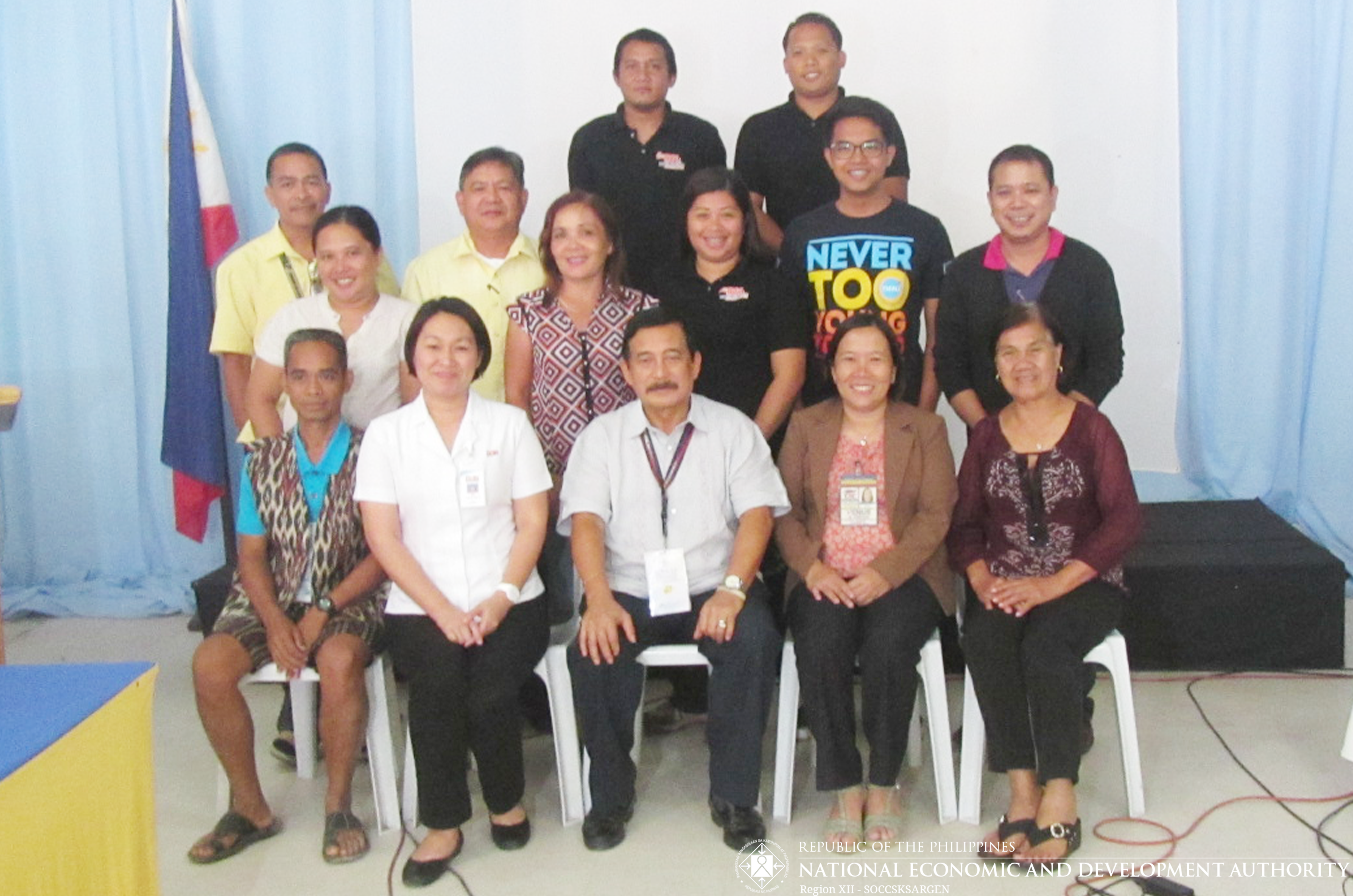 RSC XII Chairperson Arturo G. Valero (center) in photo op with the nominees for the 2016 SOV present during the Executive Level Meeting on 27 September 2016. From left to right (Front row): Mr. Marcelo Gusanan (Adult); Ms. Leamor B. Bañaga (representing Dolefil); CSC XII ARD Venus D. Ondoy; and Ms. Ella Duterte Pobre (representing AMPC). (Second row): Ms. Mercelita Q. Camiring (representing AMPC); Ms. Meriam Pangnaduyon-Booc (Adult); Ms. Clarissa A. Pana (representing the KidCERU together with Mr. Noefel A. Manginubong and Mr. Gabriel A. Paderna at the back row); (Third row): Mr. Eustaquio dela Cruz, Jr. and Mr. Norlan A. Yap (representing the Yellow Bus Line); Mr. Algem Cris B. Crusis (Youth); and Mr. Gerry Jesus J. Villano (Adult). Absent: Mr. Jonalier M. Perez (Adult).