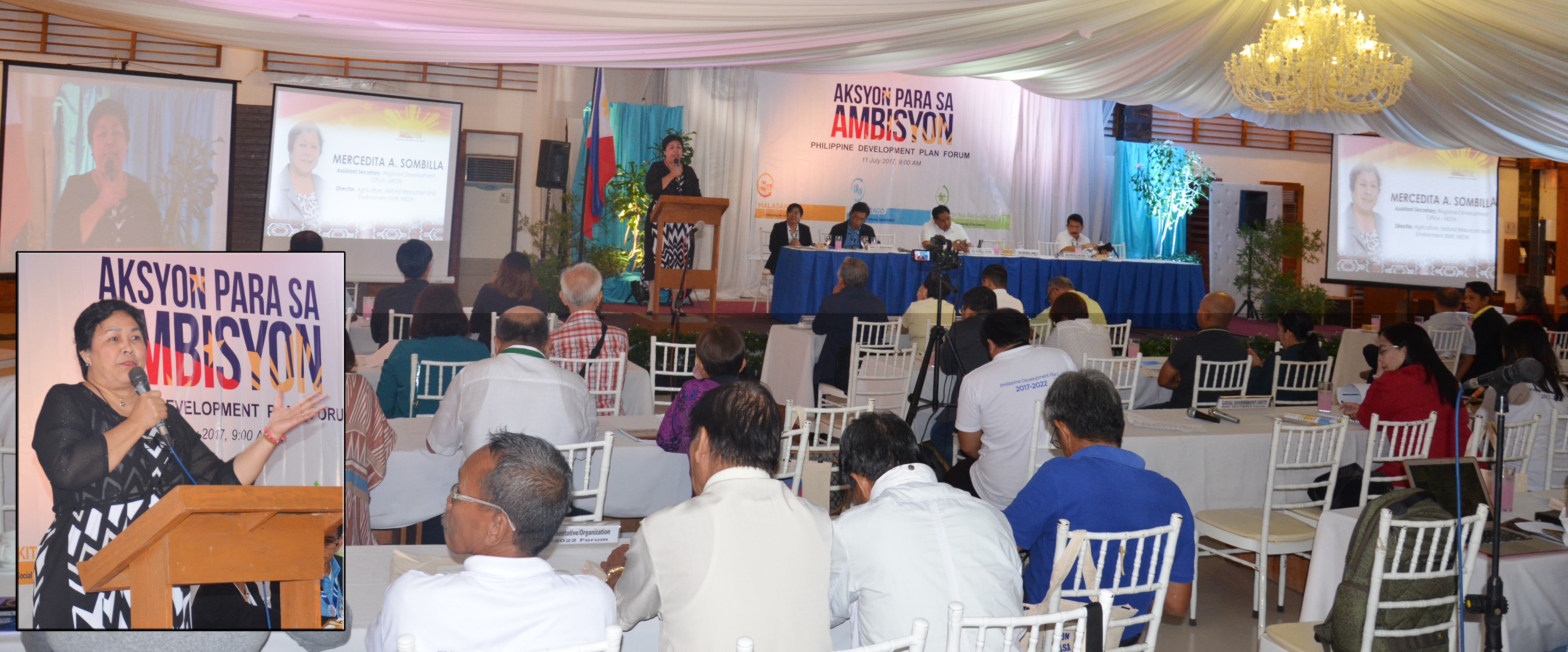 National Economic and Development Authority (NEDA) Assistant Secretary Mercedita A. Sombilla (inset) in her keynote message during the SOCCSKSARGEN Aksyon para sa Ambisyon Philippine Development Plan Forum on July 11, 2017 in Koronadal City.