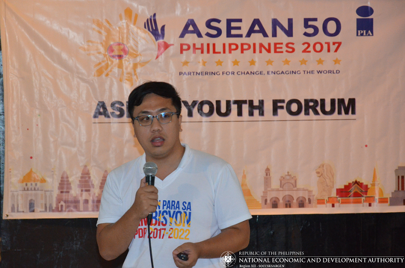 Engr. Judd Nichol L. Leonar, Economic Development Specialist (EDS) I of NEDA XII during the PIA XII and Dep-Ed South Cotabato Division sponsored ASEAN Youth Forum at Protech Center, Koronadal City on July 28, 2017.